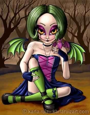 Colorful Autumn Big Eyed Demon Pixie Girl with Bat Wings and Pet Creature Gothic Fantasy Art Print