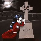 Rest In Peace Goth Gothic Mourning Girl in Red Gown Cemetery Full Moon Graveyard Art Print