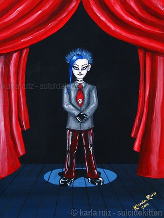 Blue Lou Gothic Blue Haired Boy with Skull Neck Tie Goth Art Print