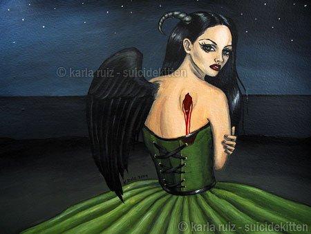 Reflection Over a Dark Blue Sky Fallen Dark Angel Demon Girl Green Corset and Night Scene Art Print