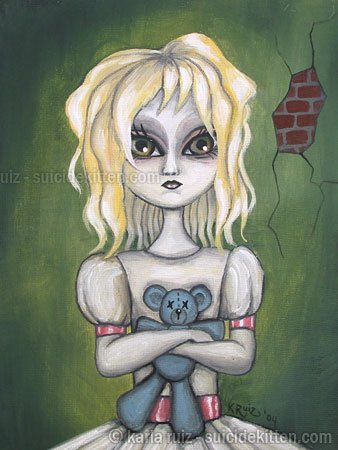 Gloomy Ghoul Kid Wendy Gothic Goth Creepy Girl Big Eyes Rag Doll Teddy Bear Dark Morose Art Print