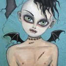 Gloomy Ghoul Kid Devin Gothic Goth Creepy Bat Wings Boy Stitches Horror Art Print