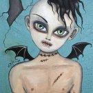 Gloomy Ghoul Kid Devin Gothic Goth Creepy Bat Wings Boy Stitches Horror Art Print