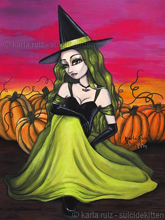 Lime Witch Goth Gothic Harvest Autumn Green Witch Girl Pumpkin Patch Pagan Art Print