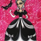 Masquerade Elegant Gothic Lolita EGL Big Large Eyes Girl with Black and White Gown Mask Goth Print