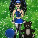 Chastity Goth Gothic Cyber Girl Big Huge Eyes Dark Art Print