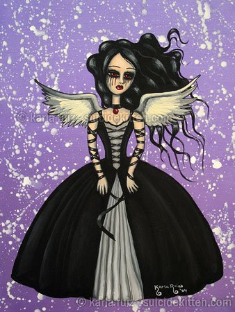 Obsidian Spirit EGL Elegant Gothic Lolita Dark Angel Girl Black Ball Gown Bound Goth Dark Art Print