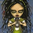 Gloomy Ghoul Spyder Gothic Green Dreads Cyber Boy Toy Rag Doll Spider Big Eyes Creepy Dark Art Print