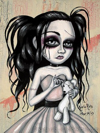 Gloomy Ghoul Kandace Goth Gothic Lolita Girl Creep Big Eyes Stitches Rag Doll Teddy Bear Art Print