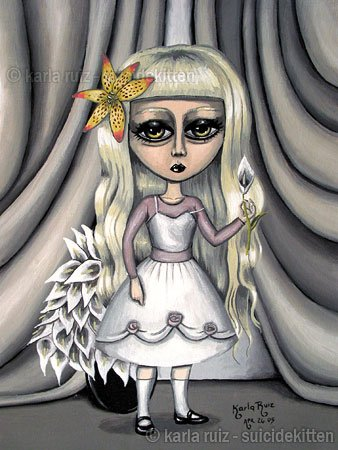 Little Lilly Tiger Calla Lilly Flower Huge Eyes Girl with White Cake Dress Goth Gothic Art Print