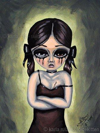 Linda Llorona Huge Big Eyes Baby Doll Creepy Emo Girl Pigtails Runny Makeup Goth Gothic Art Print