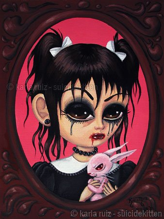 Cherry - Elegant Gothic Lolita EGL Girl with Creepy Pet Rag Doll Rabbit Big Eyes Gothic Art Print