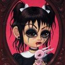 Cherry - Elegant Gothic Lolita EGL Girl with Creepy Pet Rag Doll Rabbit Big Eyes Gothic Art Print
