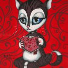 Lonely Valentine Morose Valentine's Day Cat Bloody Heart Black Studded Chocker Gothic Art Print