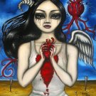 The Longing Goth Gothic Horror Gore Big Eyed Demon Angel Girl Blood Heart Surrealism Art Print