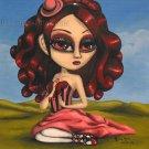 Ruby Sangrando Big Eyed Ballerina Girl Gothic Gore Pink Tutu Elegant Lolita Surrealism Art Print