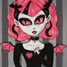 Maiden Melani Gothic Lolita Girl Cat Eyes Pink Bat Wings with Black Gown Pink Heart Gothic Art Print
