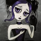 Maiden Violet and Her Crow EGL Elegant Gothic Lolita Girl with Big Eyes Black Purple Gown Art Print