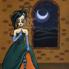 Adena and the Moon Creepy Maiden Girl Poking at Stitches Green Gown Surrealism Art Print