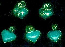 5 Original jadeite heard pendants. FREE SHIPPING
