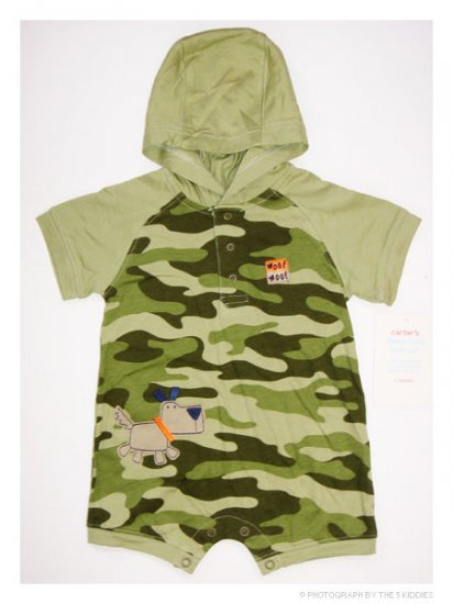 [SALE] 6M Babyboy Carter's Sunsuit / Onesie / Romper with Hood: Woof-Woof
