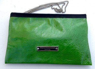 Wallet from green pattent leather