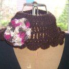 Handmade brown and multi color flower scarflette
