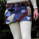 One of a kind recycled redesigned fur legging cover mini skirt