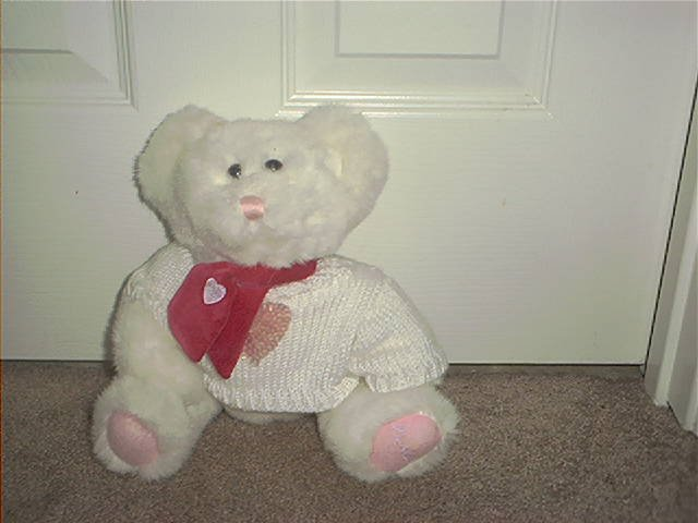 THE BABY PLACE CHILDREN'S PLACE WHITE PLUSH BEAR with SWEATER & BOW EXCELLENT CONDITION