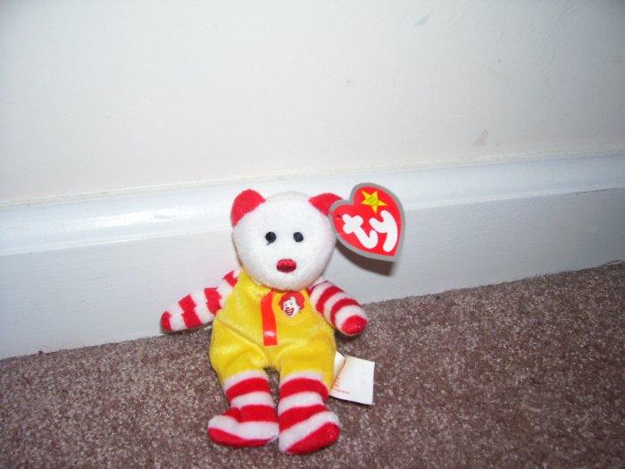 TY Ronald McDonald The Bear Teenie Beanie Baby MINT WITH TAG! 2004