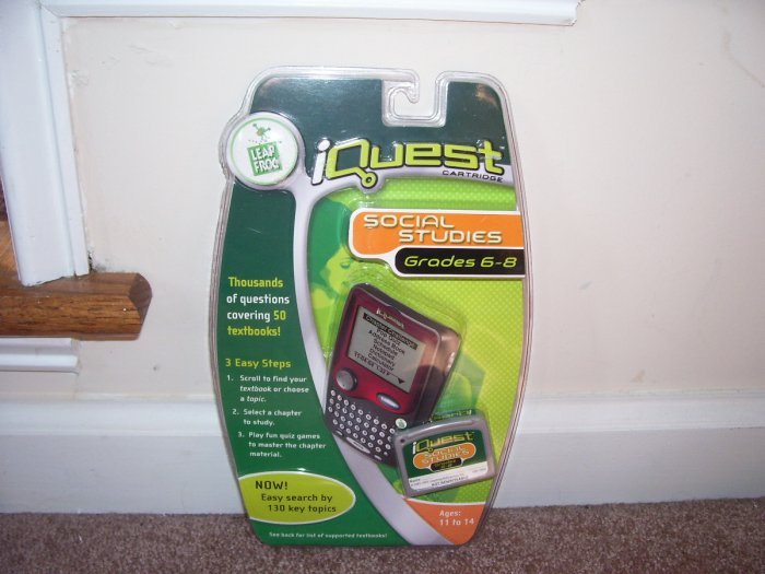 Leap Frog IQUEST * SOCIAL STUDIES * GRADES 6-8 CARTRIDGE NEW! COVERING 50 TEXTBOOKS!