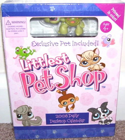 THE LITTLEST PET SHOP 2008 DESKTOP BOXED CALENDAR! w/EXCLUSIVE LITTLEST PET! NEW!