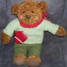 "Hallmark TEDDY MITTENS Brown Bear Plush with Red Scarf & Mittens 12"" tall"