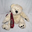 "FOSSIL Cream Colored Teddy Bear Plush w/SCARF 8"" Sitting"