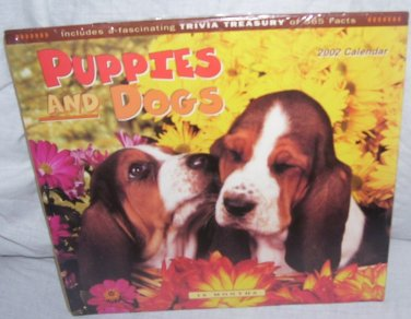 PUPPIES AND DOGS 2002 Collector 16 Month Wall Calendar NEW!