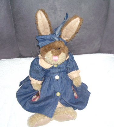 "Boyds Collection LUCILLE Dressed Bunny 14"" Wearing BearWear Outfit 1997 #91141"