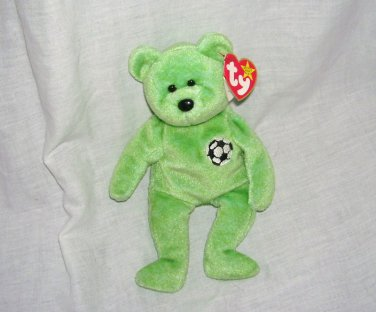 Ty KICKS The Soccer Bear Beanie Baby NEW WITH TAG! Retired 1999