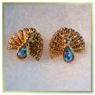 Peacock Blue Rhinestone Earrings Vintage Designer Cute