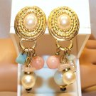 Vintage Colorful Clips Earrings faux Pearl Jade Pink Stones Gold Plate