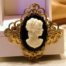Cameo Pin Brooch Black White Face Golden Ornate Frame Vintage