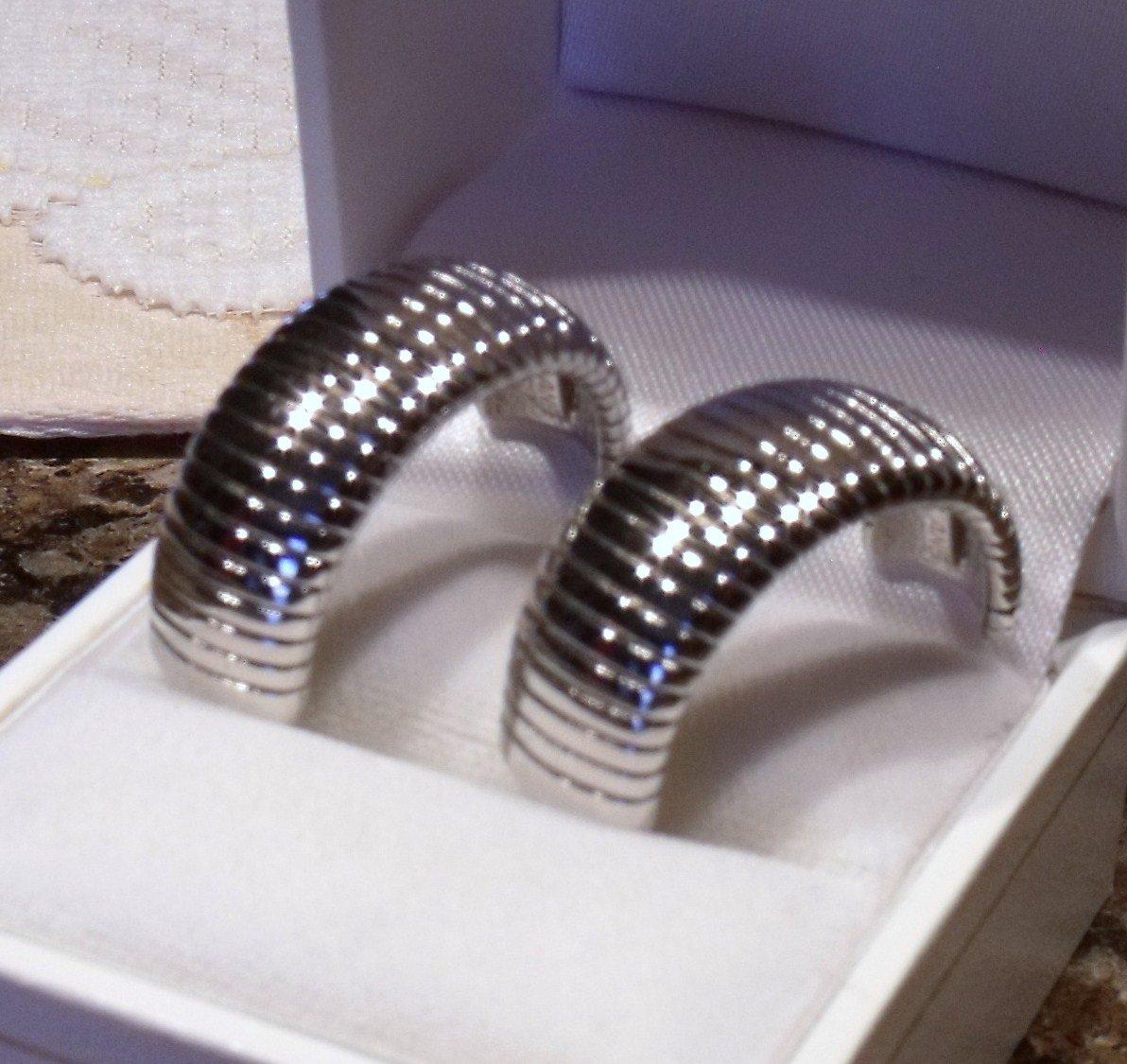 Parklane Hoop Post Earrings Textured Vintage Designer