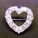 Rhinestones Heart Pin Brooch Vintage Sparkling Stones Jewelry