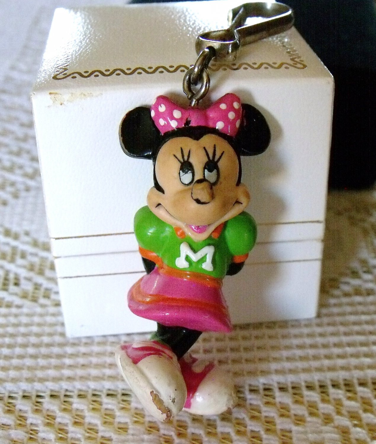 Minnie Mouse Rubber Figurine Vintage Key Chain Charm Jewelry