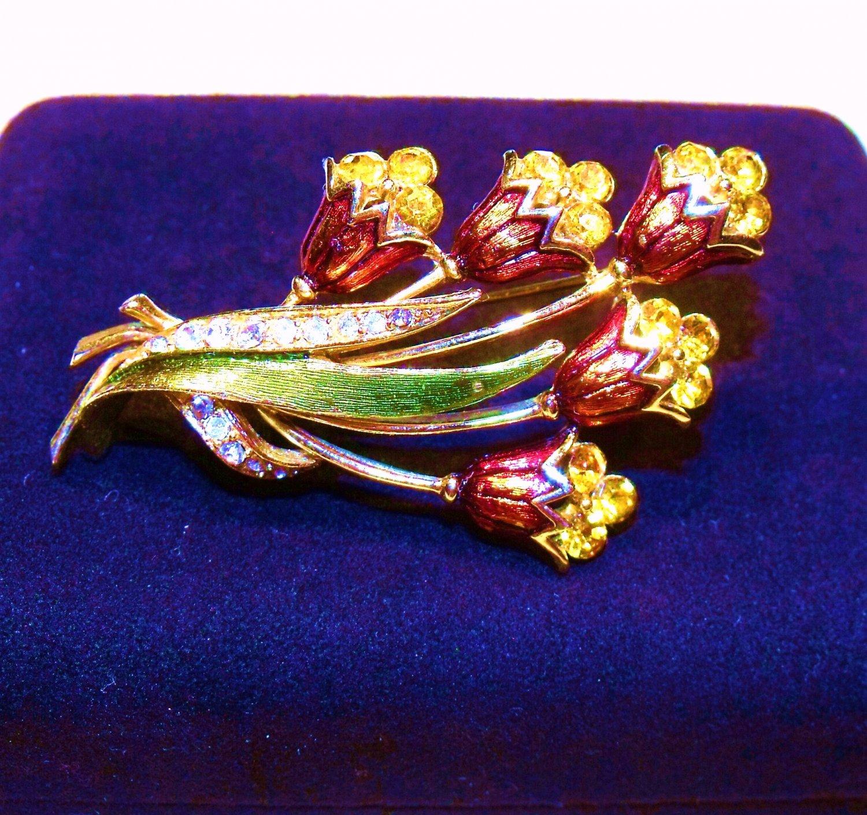 Tulip Rhinestones Enameled Brooch Pin Vintage 2.5 inch