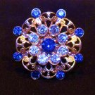 Blue Rhinestone Filagree Pin Brooch Vintage