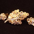 Juliana Style Rhinestones Pin Earrings Vintage Set