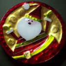 Plaid Tidings Santa Glass Serving Plate Christmas
