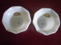 2 Vintage Hazel Atlas Opaque Votive Holders w/ Tags
