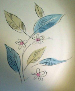 """Salem China 12"""" Platter Pink, Tuquoise & Sage Floral"""