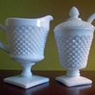 Westmoreland White English Hobnail Cream & Sugar VGC